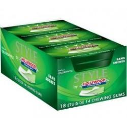 18 Paquets de Chewing-gum Hollywood Style Chlorophylle Sans Sucres