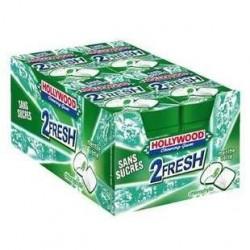 16 Paquets de Chewing-gum Hollywood 2 Fresh Chlorophylle Sans Sucres