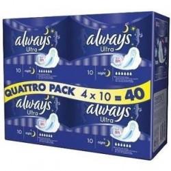 4 Paquets de 10 Serviettes Ultra Nuit Quattro Always