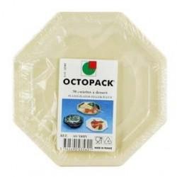 50 Assiettes Octopack Octogonales Ivoire 18.5 CM