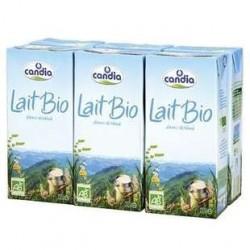 6 Briques de Lait bio Candia 1/2 écrémé UHT 6X1 L