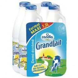 4 Bouteilles de Grandlait Demi-écrémé Candia 4 x 1,5 L