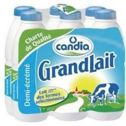 6 Bouteilles de Grandlait Ferme 1/2 Ecrémé UHT Candia 6X1 L
