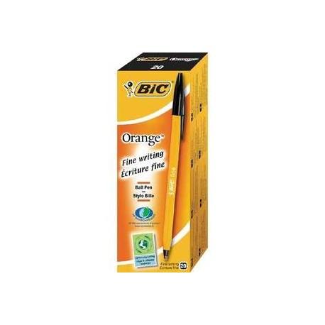 20 Stylos Bille Orange Noirs Bic