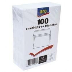 100 Enveloppes Blanches C6 Aro 80 G