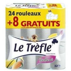 24 Rouleaux + 8 Gratuits de Papier Toilette Parfumé Le Trèfle