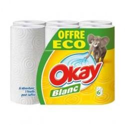 6 Rouleaux Essuie-Tout Blanc Okay