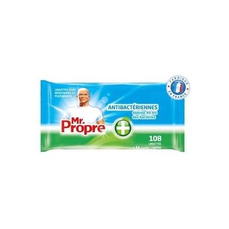 108 Lingettes Nettoyantes Antibactériennes Mr.Propre