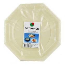 50 Assiettes Octogonales Ivoire Otopack 24 CM