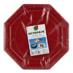 50 Assiettes Octogonales Rouge Otopack 24 CM