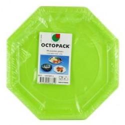 50 Assiettes Octogonales Vert Anis Otopack 24 CM
