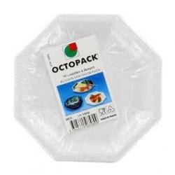 50 Assiettes Octogonales Blanches Otopack 18.5 CM