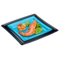 50 Assiettes Carrées en Plastique Noir 24 CM