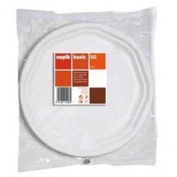 50 Assiettes en Plastique Blanches 25 CM