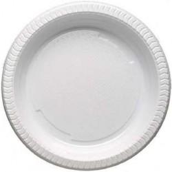 100 Assiettes en Plastiques Blanches 20,5 CM