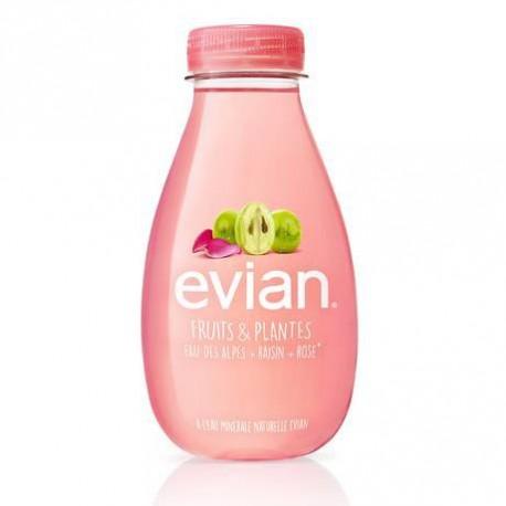 12 Bouteilles d'Eau Evian Fruits & Plantes Raisin + Rose 12 x 37 CL