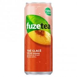 24 Canettes de Thé Glacé Pêche Intense Fuze Tea 24 x 33 CL