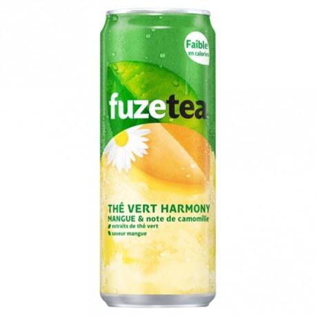 24 Canettes de Thé Vert Harmony Mangue et Note de Camomille Fuze Tea 24 x 33 CL