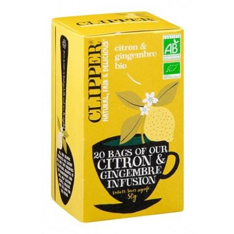 20 Sachets d'Infusion Citron Gingembre Bio Clipper