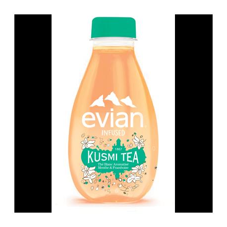 12 Bouteilles d'Evian Kusmi Tea Thé Blanc Myrtille et Framboise 12 x 37 CL